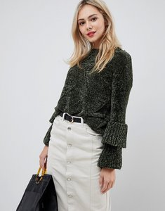 Read more about Stella morgan chenille jumper with frilled trumpet sleeves - khaki