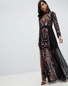 Read more about Frock and frill all over embroidered maxi dress in black multi - black