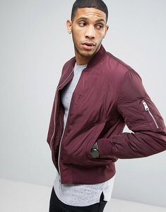 Read more about Asos bomber jacket with ma1 pocket in burgundy - burgundy