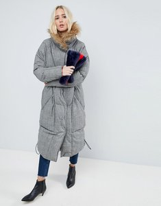 Read more about Asos white check oversized padded coat - check