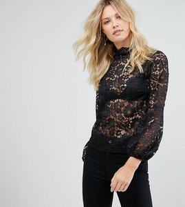 Read more about John zack tall cutwork lace top with blouson sleeve - black