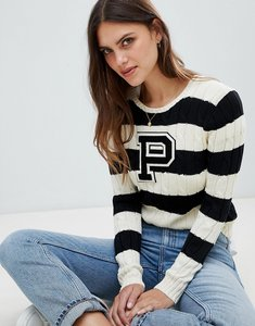 Read more about Polo ralph lauren stripe cable knit jumper - cream polo black