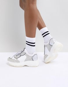 Read more about Bronx white grey suede chunky trainers - white