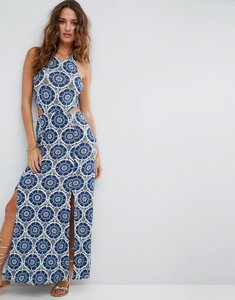 Read more about Asos halter neck maxi dress with shirred back panel in tile print - tile print
