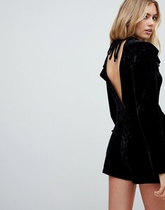 Read more about Glamorous frill shoulder long sleeve playsuit in velvet - black