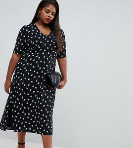 Read more about Fashion union plus midi tea dress in spot rose print - black rose print