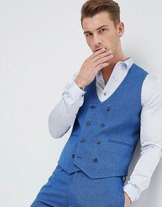 Read more about Asos wedding super skinny suit waistcoat in bright blue micro texture - blue
