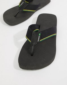 Read more about Havaianas brasil flip flops in black canvas - black