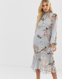 Read more about Hope ivy long sleeve open back printed midi dress with delicate lace trim - grey base bird