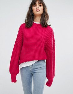 Read more about Weekday waffle knit jumper - hot pink