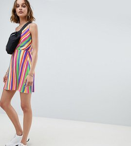 Read more about Reclaimed vintage inspired cowl neck mini dress in stripe - multi