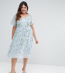 Read more about Asos curve salon embellished midi dress with flutter sleeve - blue