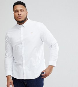 Read more about Farah plus brewer slim fit oxford shirt in white - white 104