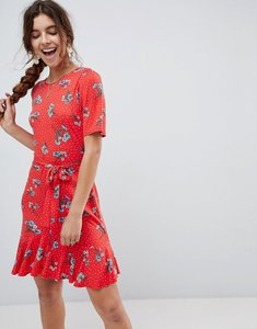 Read more about Asos tea dress with v back and frill hem in red floral print - floral print
