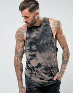 Read more about Asos racer back vest with dropped armhole and tie-dye - black