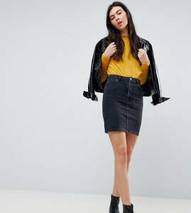 Read more about Asos tall denim original high waisted skirt in washed black - black
