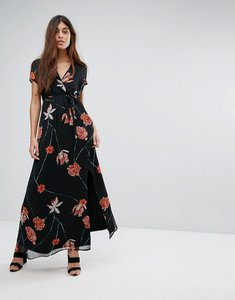 Read more about Vero moda mesh floral printed maxi dress - black
