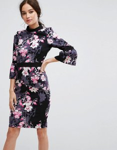 Read more about Paper dolls long sleeve pencil dress in floral print - multi