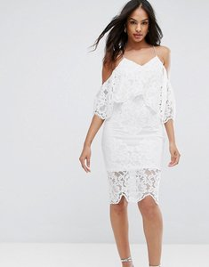Read more about Ax paris cream spaghetti strap lace bodycon dress - cream