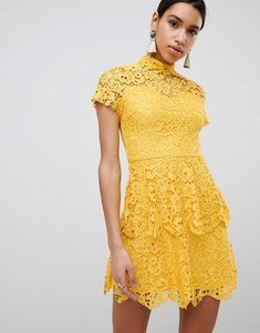 Read more about Missguided high neck lace mini dress - yellow
