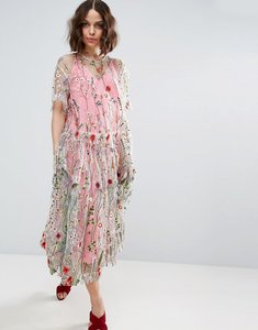 Read more about Asos salon embroidered smock longer length midi dress - multi