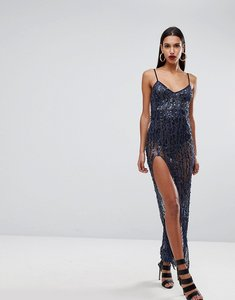 Read more about Naanaa cami maxi dress with thigh split in sequin - navy sequin