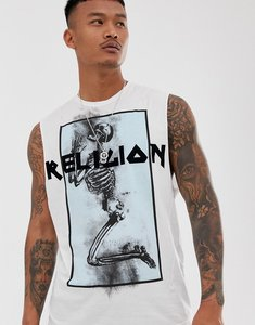 Read more about Religion vest with blue skeleton print in white