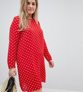 Read more about Glamorous curve long sleeve swing dress in polka dot - red polka dot