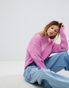 Read more about Asos jumper in fluffy cable in wide sleeve - pink