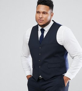Read more about Harry brown plus plain stretch slim suit waistcoat - navy