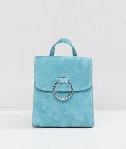 Read more about Asos suede mini backpack with ring - blue