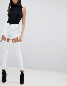 Read more about Asos ridley high waist skinny jeans with suspender detail in white - white