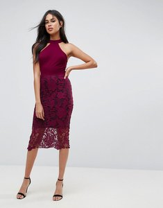 Read more about Ax paris racer neck midi dress with crochet lace skirt and contrast lining - plum
