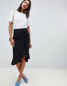 Read more about Oasis wrap midi skirt with frill detail in polka dot - multi
