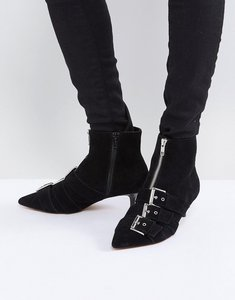 Read more about Asos revelation suede heeled ankle boots - black