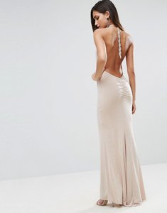 2c70cdd99551 Read more about Asos slinky halter embellished ruched back maxi dress -  champagne