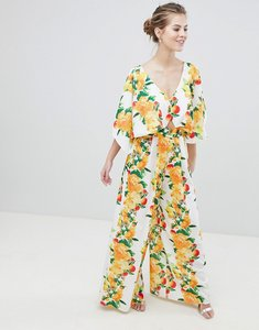 Read more about Asos design kimono jumpsuit with wide leg in fruit print - yellow floral
