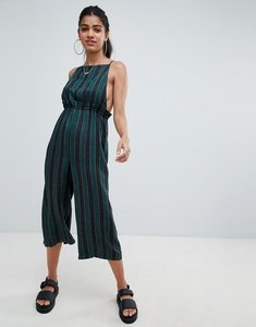 Read more about Asos design washed cami jumpsuit with square neck in stripe - green stripe