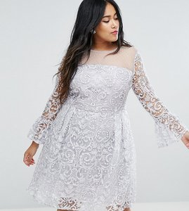 Read more about Truly you all over embroidered midi skater dress with fluted sleeve detail - silver
