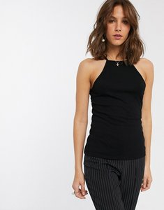 Read more about Asos design cami with square neck in fitted rib in black - black