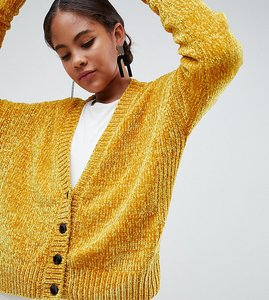 Read more about Asos design tall cropped cardigan in chenille with buttons - mustard