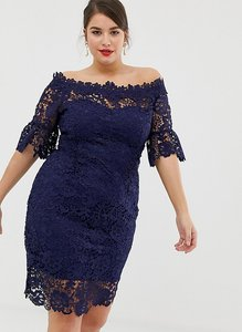 Read more about Paper dolls plus all over lace bardot dress - navy