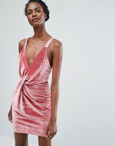 Read more about Endless rose twist front velvet mini dress - deep rose