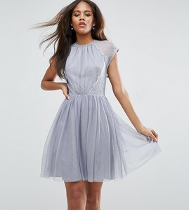 Read more about Asos tall premium lace tulle mini prom dress - grey