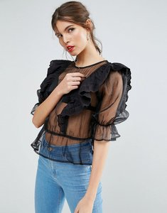 Read more about Asos premium organza victoriana blouse with broderie trim - black
