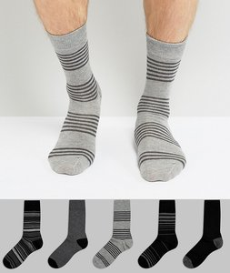Read more about Burton menswear 5 pack socks in grey with stripe - grey