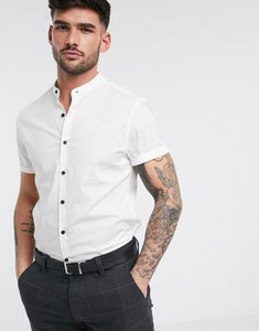 Read more about Asos design slim shirt with grandad collar in white with contrast buttons - white