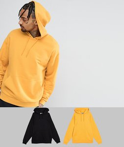 Read more about Asos oversized hoodie 2 pack yellow black save - black coleman