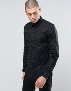 Read more about Minimum slim fit random dot formal shirt - black