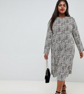 Read more about Asos design curve midi smock dress in animal print - multi